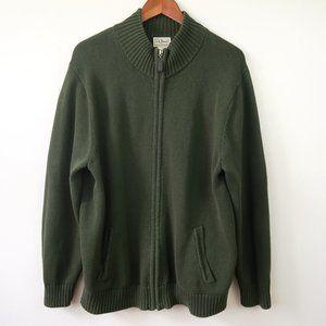 L.L. Bean Green Double L Cotton Cardigan Sweater
